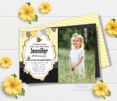 Printable Birthday Invitations, Party Invitations, Bumble Bee Invitations, Bumble Bee Birthday, Bee Photo, Birthday Photos, Color Card, Photo Cards, Your Cards