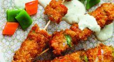 Pinchos empanizados de carnes mixtas y verduras.  De pollo, ternera, conejo, cerdo... Puedes preparar pequeños trozos deliciosamente crujientes, para servirlos en un almuerzo informal.