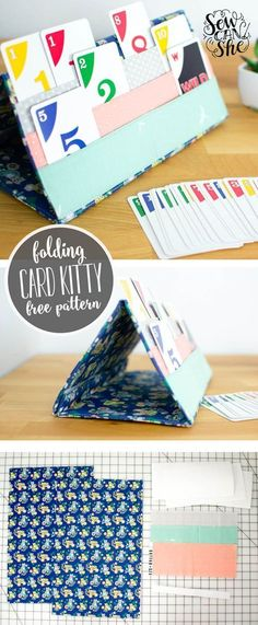 Sewing Projects For Kids The Card Kitty (card holder for playing card games) - free sewing tutorial — SewCanShe Sewing Hacks, Sewing Tutorials, Sewing Crafts, Sewing Tips, Sewing Basics, Basic Sewing, Bag Tutorials, Sewing Art, Hand Sewing