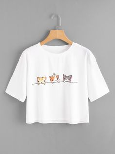 SheIn offers Cat Print Crop Tee & more to fit yo… Shop Cat Print Crop Tee online. SheIn offers Cat Print Crop Tee & more to fit your fashionable needs. Crop Top Outfits, Cute Casual Outfits, Teen Fashion Outfits, Girl Outfits, Mode Kawaii, T Shirt Painting, Kawaii Clothes, Crop Tee, Aesthetic Clothes