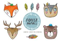 Adorable forest animals by Jana Fak on @creativemarket