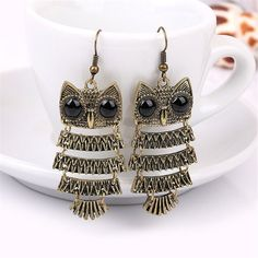 ES106  Bronze Vintage Owl Stud Earrings Fashion Jewelry Antique Animal Brincos boucle d'oreille HOT Selling