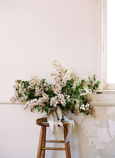 Inspired by the blooming branches that line the streets in springtime, the San Francisco creative team of wedding photographer JOSH GRUETZMACHER, stylist CELESTE GREENE DESIGN, focused on the process of the opening buds while highlighting constrained and Fall Bouquets, Bride Bouquets, Floral Bouquets, Bridesmaid Bouquet, Lilac Wedding, Spring Wedding Flowers, Floral Wedding, Lilac Bouquet, Spring Wedding Inspiration