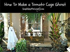 Have you seen the Ghost made from a tomato cage idea floating around the internet? (heh heh - floating) This tomato cage ghost is super easy to make, only Apple Crate Shelves, Fall Topiaries, Cheesecloth Ghost, Halloween Decorations, Halloween Ideas, Halloween Crafts, Holiday Crafts, Holiday Ideas, Halloween Stuff