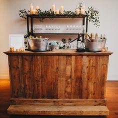 Rustic Wooden Bar - Premiere Events Rentals in Austin, TX Rustic Outdoor Bar, Rustic Wedding Bar, Rustic Bars, Wedding Ideas, Fall Wedding, Wedding Inspiration, Wooden Bar Top, Wooden Home Bar, Portable Bar