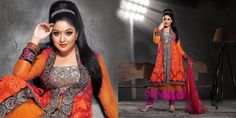 Fancy Magenta, Orange & Tomato Salwar Kameez | StylishKart.com
