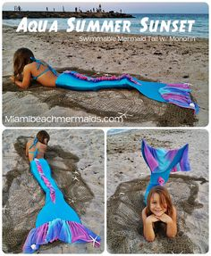 Aqua Summer Sunset Swimmable Mermaid Tail w/ Monofin on Etsy, $195.00