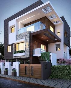 Best 11 Best Modern Exterior Design Ideas Trend 2020 Have you ever been so amazed when you saw a house from the side of the road, that you were willing to stop to want to see the best exterior design of . Modern House Facades, Modern Exterior House Designs, Design Exterior, Latest House Designs, Dream House Exterior, Cool House Designs, Modern Design, Urban Design, 3 Storey House Design