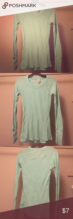 Mossimo Seafoam green waffle long sleeve Long sleeve sea foam green tshirt. Very comfortable. No longer fits so that's why no pictures of it on. Mossimo Supply Co Tops Tees - Long Sleeve