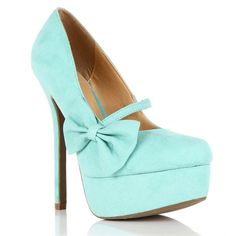 Mint Mary Jane Bow Pump ($25) ❤ liked on Polyvore