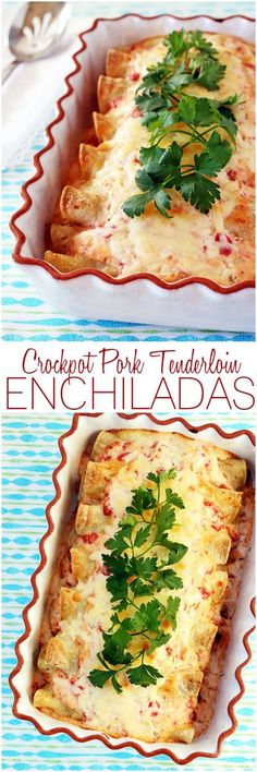 Slow-Cooker Pork Tenderloin Enchiladas - the ultimate comfort food!                                                                                                                                                                                 More