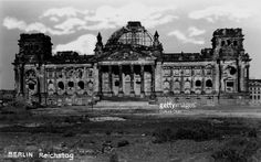 Reichstag, Berlin, Germany. Seat of German parliament. Damaged by fire on 27 February 1933 and by air raids during WW2. (Photo by Culture Club/Getty Images)