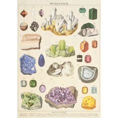 Marvelous Minerals are featured on this gift wrap. Great for wall décor, book covers, craft projects and gift wrapping, too! Printed on Italian acid-free paper. From Cavallini & Co.<br><br>Shee