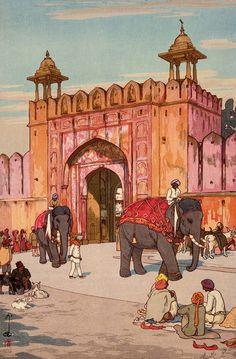 A Japanese print of India  Yoshida Hiroshi, Ajmer Gate, Jaipur, 1931 (source).