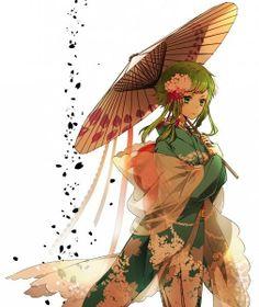 Gumi // My favorite Vocaloid Anime Girl Kimono, Manga Girl, Anime Girls, Gumi Cosplay, Manga Anime, Samurai, Art Magique, Mikuo, Pretty Anime Girl