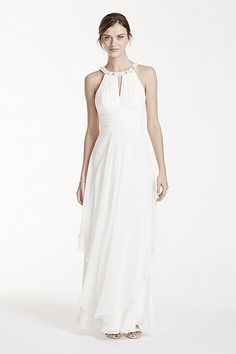 The perfect wedding gowns for destination weddings! Whether you're planning a beach wedding or another exotic destination, David's Bridal has a selection of bridal gowns that will make you look stunning in any setting Wedding Dresses Photos, Bridal Wedding Dresses, Maternity Wedding, Wedding Bride, Party Dresses, Chiffon Dress Long, White Chiffon, Casual Wedding, Wedding Attire