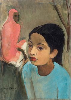 """Amrita Sher-Gil was an eminent Hungarian-Indian painter. She has been called """"one of the greatest avant-garde women artists of the early century"""" and a """"pioneer"""" in modern Indian art. Modern Indian Art, Modern Art, Contemporary Art, Amrita Sher Gil, Women Artist, Indian Artist, Beautiful Morning, Blue Art, Figure Painting"""