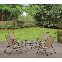 Outdoor 5 Piece Seating Set Patio Furniture Folding Camping Beach Chairs Table  #Mainstays