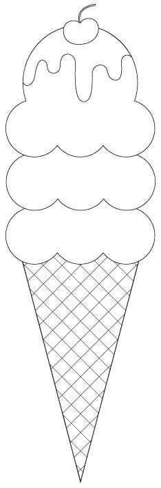 3 scoop ice cream cone digital image (cut files and sentiments as well) -- FREE. Great for an applique for a quilt or placemat Applique Templates, Applique Patterns, Applique Designs, Embroidery Applique, Quilt Patterns, Owl Templates, Colouring Pages, Coloring Books, Felt Crafts