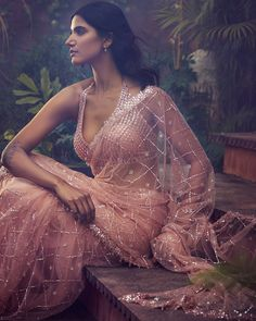 Indian Attire, Indian Outfits, Net Saree, Fashion Updates, Fashion Studio, Indian Fashion, Blush Pink, Women Wear, Peach
