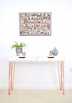 IKEA Hacks For The Bedroom - IKEA Ekby Alex Hairpin Console Table Hack - Best IKEA Furniture Hack Ideas for Bed, Storage, Nightstnad, Closet System and Storage, Dresser, Vanity, Wall Art and Kids Rooms - Easy and Cheap DIY Projects for Affordable Room and Home Decor http://diyjoy.com/ikea-hacks-bedroom