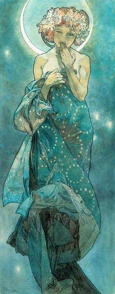 Moonlight Poster by Alphonse Mucha