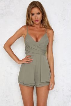 HelloMolly | Dolce Playsuit Olive - Back In Stock - Most Loved