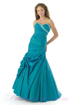 Mermaid Handmae Beading Taffeta Green Prom Dresses