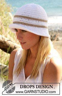 Crochet Women's/Teen's Sun Hat with Stripe by Silkwithasizzle