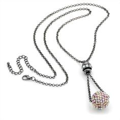 Long Crystal Ball and Chain Necklace   £8.00