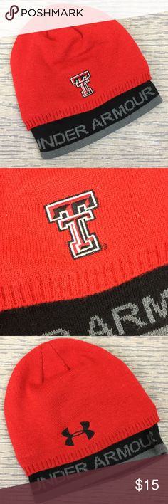 Under Armour Texas Tech  red cap This gently worn cap is done in red, grey and black and is one size fits all. It has a double layer for warmth. This sports the Texas Tech logo. Under Armour Accessories Hats