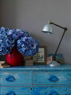 Distressed blue dresser. I <3 this and I love the hydrangeas, too!!!