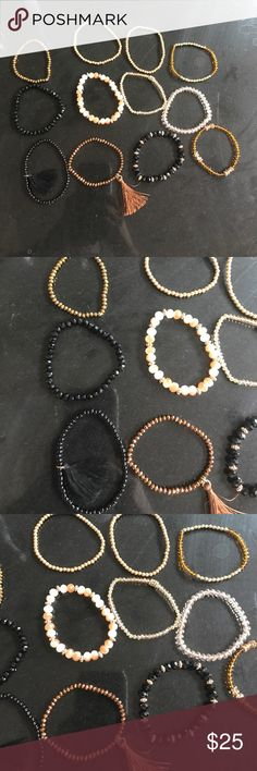 12 gold and black assorted beaded bracelets Worn once   New condition. Jewelry Bracelets