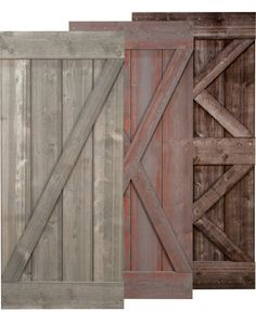 Rustic barn doors with weathered prefinishing. These sliding doors pair with our barn door hardware and are great for both modern and traditional interior spaces. Rustic Barn, Barn Wood, Barnwood Doors, Wood Shutters, Pergola, Rustic Exterior, Sliding Barn Door Hardware, Sliding Doors, Door Latches