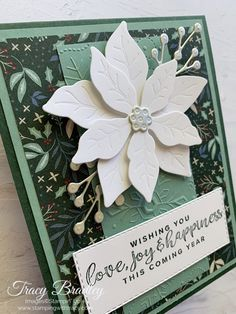 Stampin' Up! Poinsettia Dies - Stamping With Tracy Poinsettia Cards, Poinsettia Flower, Christmas Poinsettia, Christmas Cards, Christmas Ideas, Xmas Cards To Make, Image Stamp, Craft Sale, Large Flowers