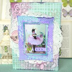 Agnieszka Bellaidea created this beautiful card using the new Enchanted Garden collection. Love the soft colors. #BoBunny, #scrapbookcards @bellaideascrap