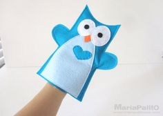 Felt Owl Hand Puppet for Small Hand Handstitched by Mariapalito