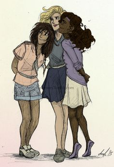 Piper, Annabeth, and Hazel. Colored.