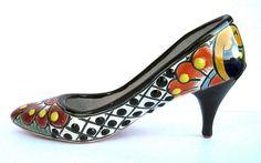 Mexican Talavera Pottery High Heel Shoe Sculpture Planter