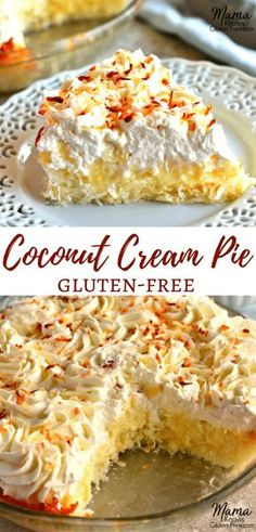 Sweet and creamy Gluten-Free Coconut Cream Pie. An easy coconut macaroon crust with a vanilla and coconut custard filling topped with fresh whipped cream. Recipe from www.mamaknowsglutenfree.com #glutenfree #glutenfreedessert #glutenfreepie #coconutcreampie #coconutcream