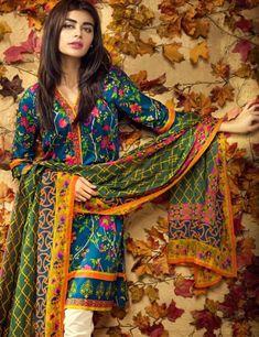 Khaadi Blue Pakistani Cotton Lawn Suit With  Dupatta L15579A