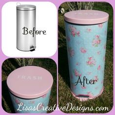 This DIY trash can makeover project will give a generic trash can a pretty new look that will match your decor and personal style.
