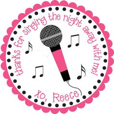 Karaoke Party Microphone Personalized Stickers - Party Favor Labels, Gift Tag, Birthday Stickers, Girls Night Out - Choice of Size 9th Birthday Parties, 7th Birthday, Rockstar Birthday, Music Themed Parties, Rock Star Party, Karaoke Party, Animal Party, Party Animals, Nautical Party