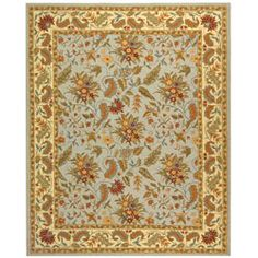 @Overstock - This beautiful transitional floral wool rug makes a colorful addition to any space. It is hand-hooked and features vibrant shades of light blue, green, red, and gold. Its fringeless border gives it a polished look. It is a soft yet durable rug.      http://www.overstock.com/Home-Garden/Handmade-Paradise-Light-Blue-Wool-Rug-79-x-99/3168680/product.html?CID=214117 $309.72