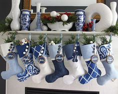 Blue and White:  All is Bright Christmas Stockings