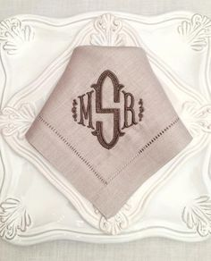 Danielle Signature Colour Monogrammed Linen Napkin Set Napkins