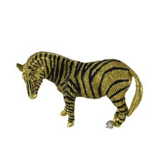 Enamel Gold Zebra Brooch | From a unique collection of vintage brooches at https://www.1stdibs.com/jewelry/brooches/brooches/
