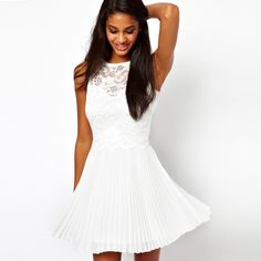2014 spring and summer brand Fashion ladies lace pleated  dress ,casual dresses