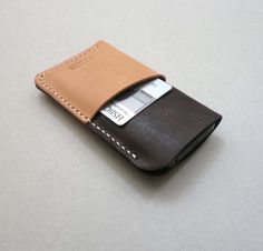 Hand Stitched iPhone 5 Case with 2 Card by CaramelLeatherCrafts