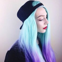 Amazing babe blue ombre hair color to purple~ love this pastel hairstyle